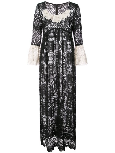 Anna Sui Floral Medallion Lace Dress Black i4mIA