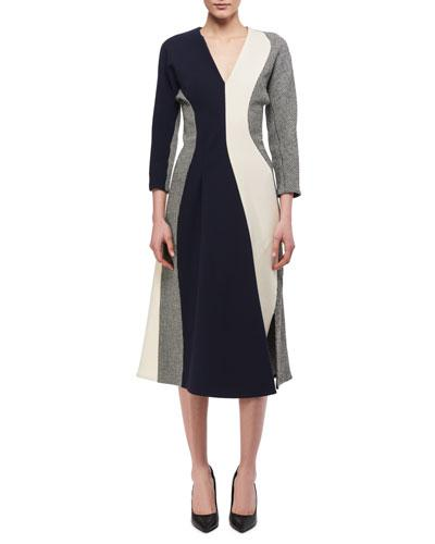 Victoria Beckham 3 4 Sleeve Paneled Midi Dress Multicolor aedPqVQOS