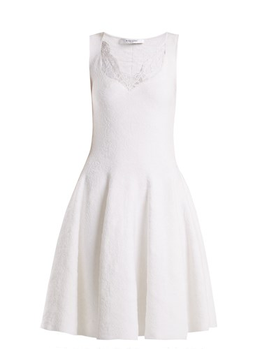 Givenchy Trimmed White Floral Damask Dress Lace ZZwnpxqUCO