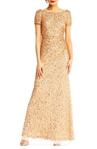 Sequin Adrianna Gold Women's Gown Cowl Back Champagne Papell 6aFaEWwqvz