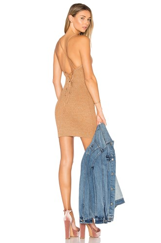 By The Way Way. Goldie Knit Mini Dress Tan oSyqY0