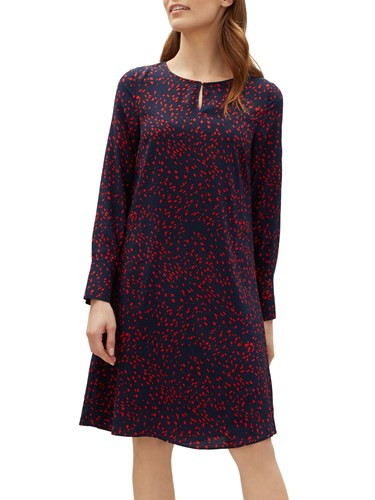 Jaeger Ditsy Print Flare Dress Navy Ditsy c48xp0