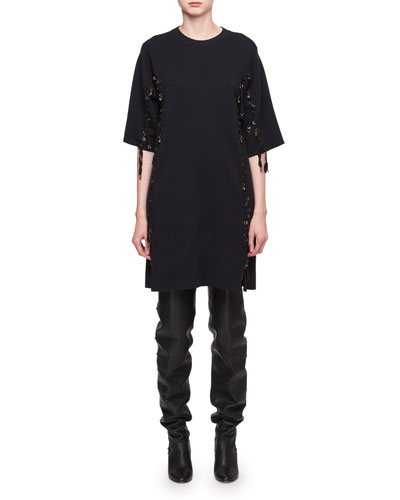 Chloé Elbow Sleeve Wool Lace Trim Dress Navy YMeAjdEOW