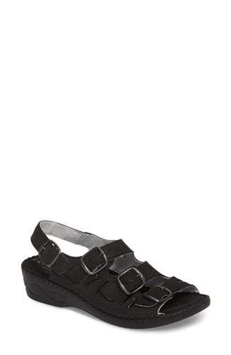 Nubuck Slingback Wedge 'S David Tate Sandal Luna Black wqHW1gB