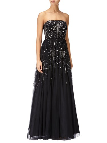 Adrianna Papell Beaded Ball Gown Black US6MXWd