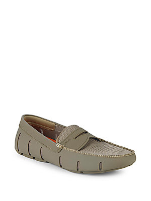 Swims Textured Penny Loafers Khaki UVEDJ