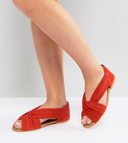 Asos Janel Wide Fit Suede Summer Shoes Red Suede Y1JC48R4K