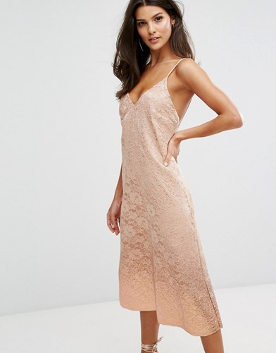 Warehouse Foil Dip Lace Slip Dress Nude Beige 0WviMiB
