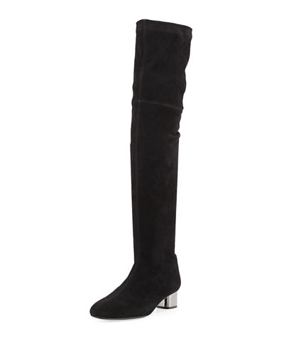 Robert Clergerie Piloul Stretch Suede Knee Boot Black vY7zMRuE6T
