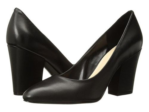 Nine West Scheila Block Heel Pump Black Leather 1 High Heels uY1pcUGTM0