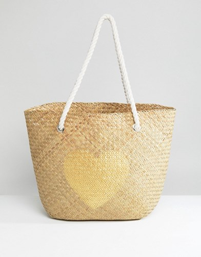 South Beach Natural Straw Bag With Gold Heart Multi iqtYrmbV