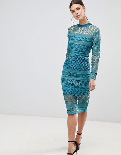 Forever Unique Lace Bodycon Dress Green YbVjTDH
