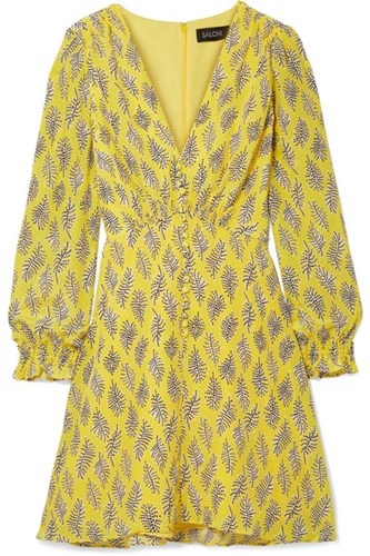 Saloni Eve Printed Silk Crepe De Chine Mini Dress Yellow EJ312uI