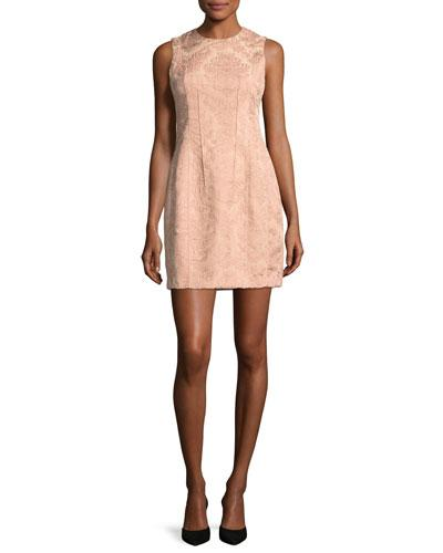Theory Hourglass Baroque Jacquard Sleeveless Hourglass Dress Pink 5PVe6