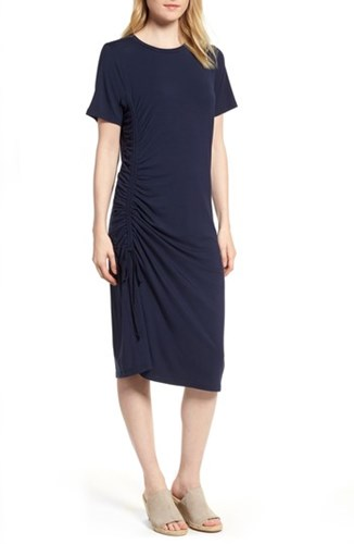 PRESS Ruched Side T Shirt Dress Deepest Navy X5rCbi2