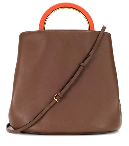 Marni Pannier Leather Handbag Brown reGPPXed