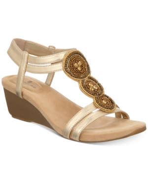 Bandolino Harman Embellished Wedge Sandals Women's Shoes Light Gold Ee8BfgEh