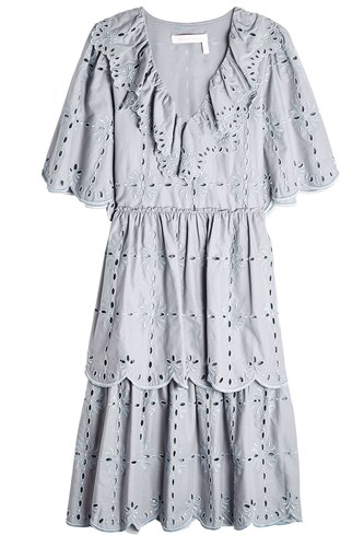 See by Chloe Cotton Dress With Broderie Anglaise Grey 7iRyWea