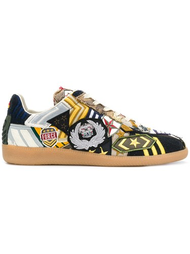 Maison Martin Margiela Patch Work Sneakers Calf Leather Goat Skin Rubber Rayon Multicolour jpOcttWYUk