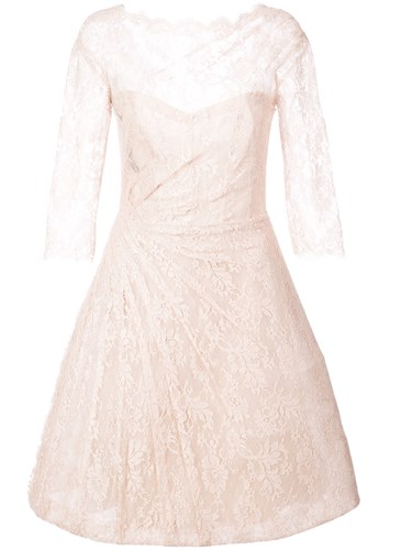 Monique Lhuillier Lace Detail Flared Dress Nude And Neutrals PVn3KED