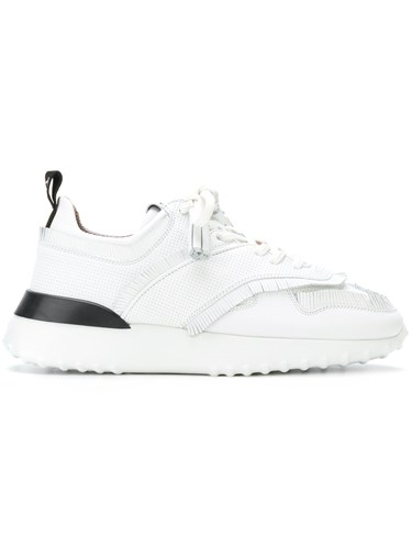 Tod's White Leather Sneakers Rubber Runner Polyester Fringed zqrAgz