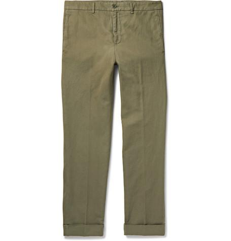 Slim Fit Garment Dyed Cotton And Linen Blend Twill Chinos Green