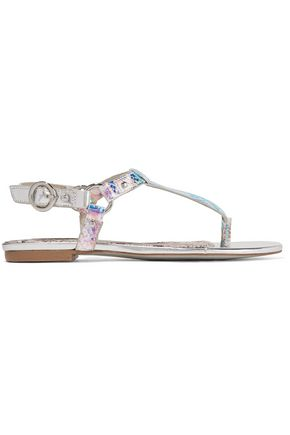 Just Cavalli Iridescent Python Effect Faux Leather Sandals Silver IVe06Q