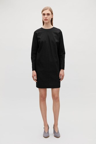 COS Zipped Linen Tunic Dress Black aLNcWu3R