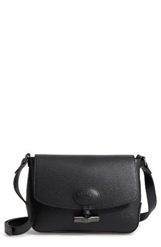Longchamp Roseau Leather Crossbody Bag Black vO9cuYbI