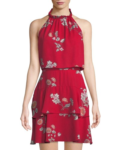 BB Dakota Cadence Floral Print Halter Popover Dress Red kx1pFN