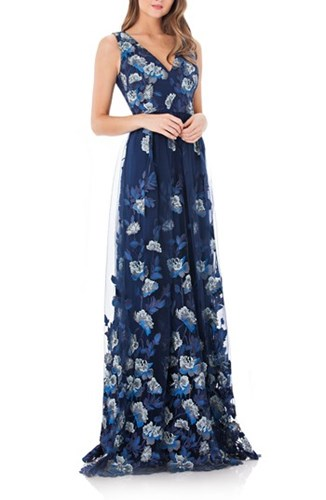 Carmen Marc Valvo Infusion 'S Embroidered Mesh Gown Navy lLnOm3