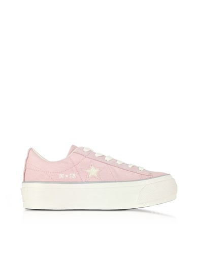 Converse Limited Edition Shoes One Star Ox Peach Skin Canvas Flatform Sneakers W White Glitter Star 4L8bx9