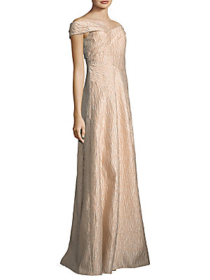 Adrianna Papell Off The Shoulder Gown Light Mink x5HjjHNa0A