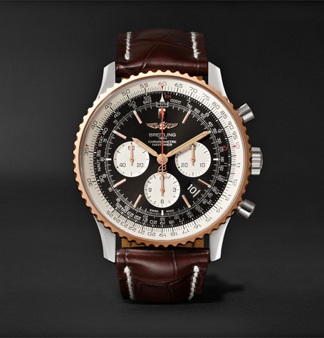 Navitimer 1 Chronograph 46Mm Steel Red Gold And Crocodile Watch Black