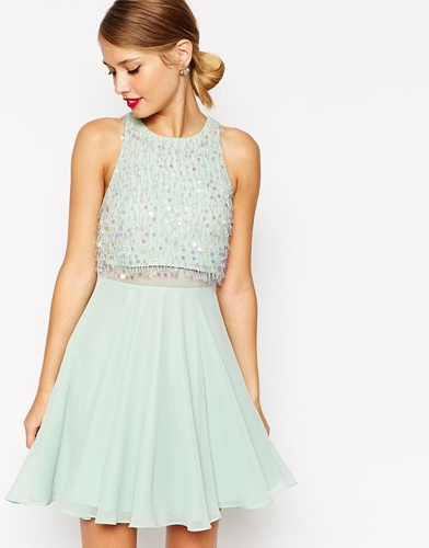 Asos Crop Top Skater Dress With Sequin Droplets Mint sFgCED5amw