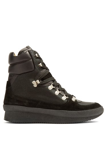 Isabel Marant Brendty Canvas And Leather Ankle Boots Black XyJWFCvReX