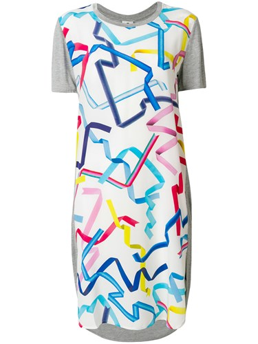 Paul Smith Ps By Short Sleeve Printed Dress Grey H4vbKMa7TG