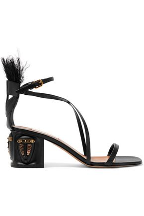 Valentino Feather Embellished Leather Sandals Black Lh4q8qxkj4