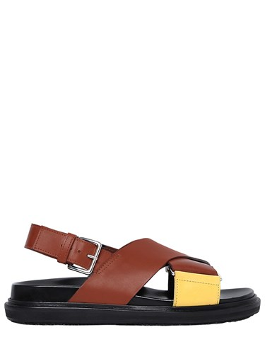 Marni 30Mm Crisscross Leather Sandals Brown Yellow dQdx6Qsb6p