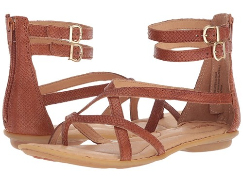 Børn Mai Gladiator Cognac Embossed Full Grain Leather Sandals Tan TqWrz2
