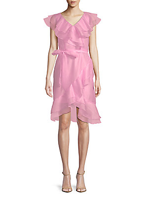 Avantlook Flower Ruffle Sheath Dress Baby Pink 1S41H4V