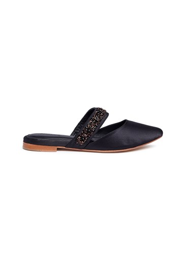 ZYNE 'Couture' Embellished Satin Slides Black lnEoX3G