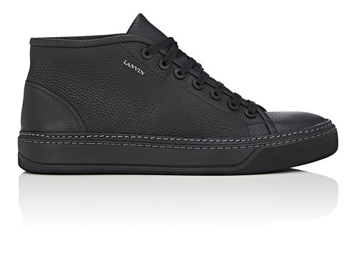Lanvin Grained Leather Sneakers Black MOces