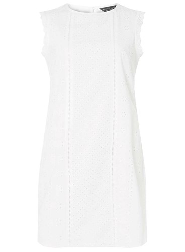 Ivory Broderie Over Perkins Dress Dorothy All White Shift Z5wx1