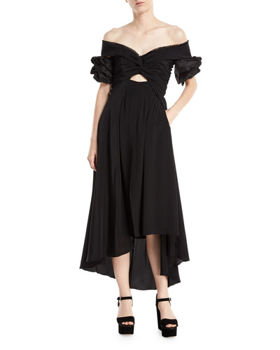 Johanna Ortiz Maria Felix Off Shoulder Midi Dress Black kerkomjI