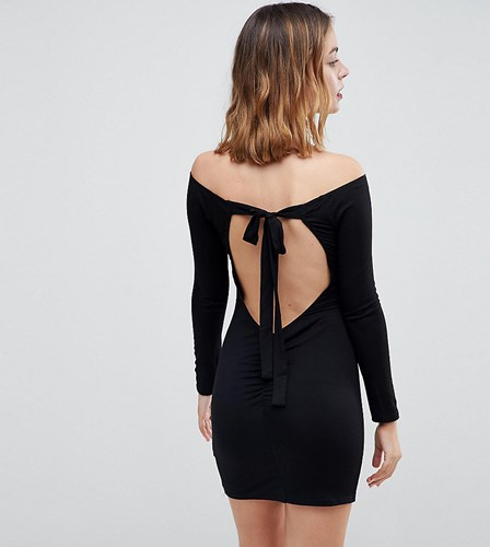 Asos Petite Mini Bodycon Dress With Bow Back Black zoL4d9SL