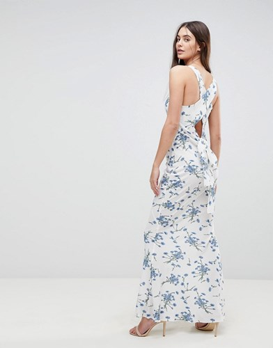 AX Paris Maxi Dress With Tie Back In Floral White GIDLW91
