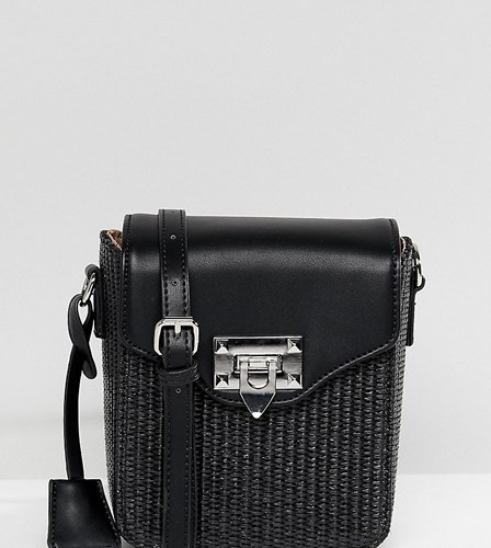 Glamorous Bag Cross With Detail Woven Body Boxy Black AAOq8wR