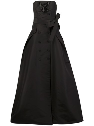 Carolina Herrera Button Detailing Strapless Gown Black WJrlxx14
