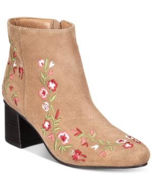 Heel Callisto Tan Shoes Women's Veronaa Block Embroidered Booties ttxq8vzT